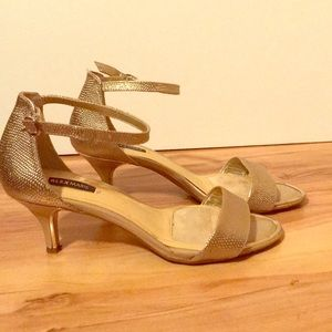 Low Gold Heeled Sandals